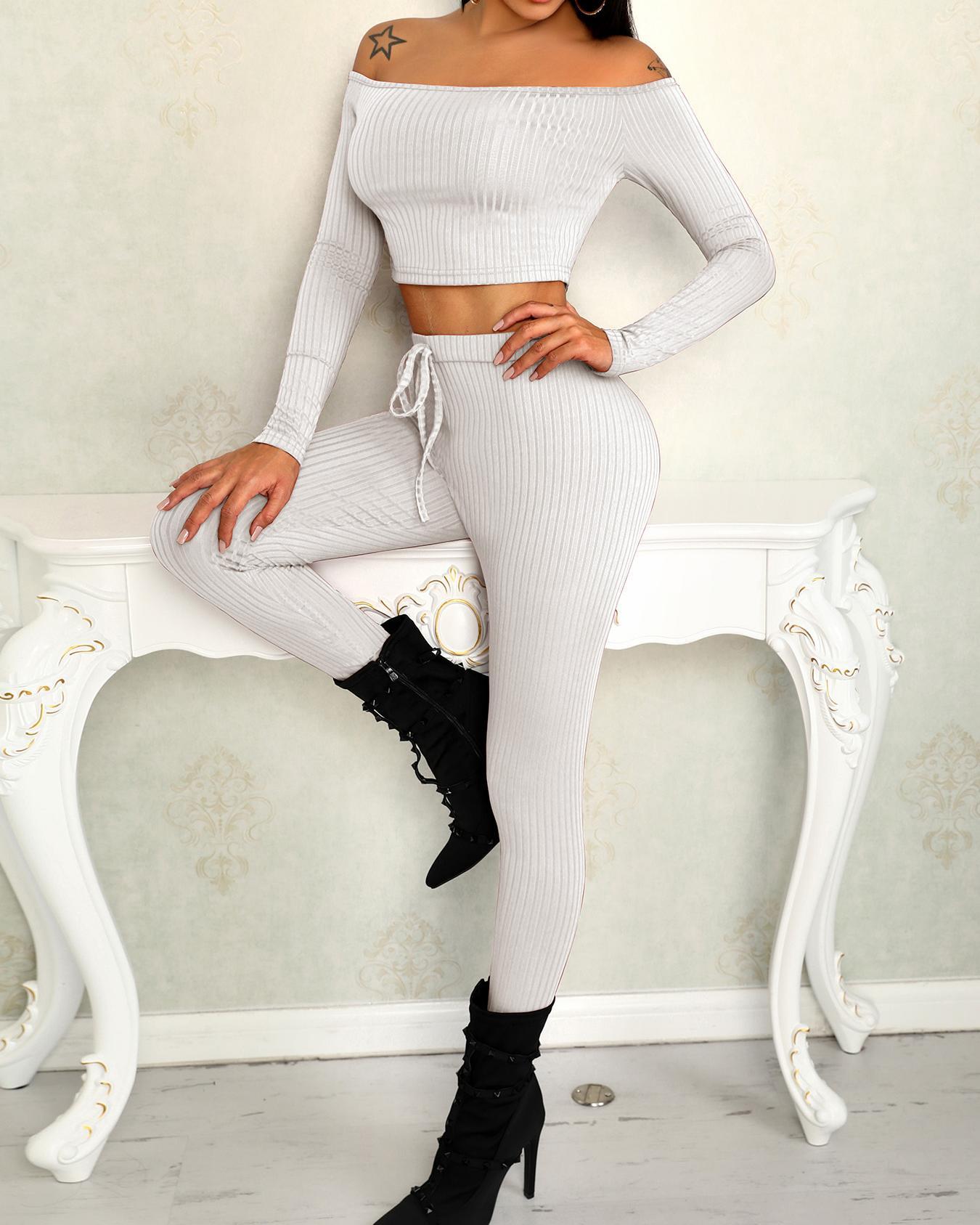 Off Shoulder Rib-knit Crop Top & Pants Sets фото