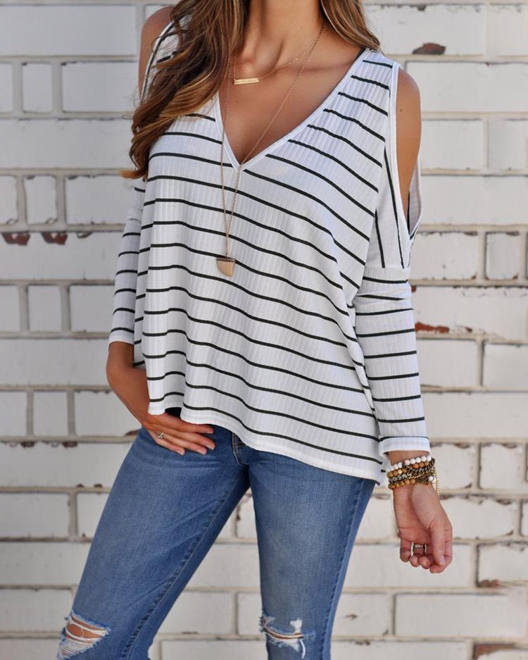 Stylish V Neck Cold Shoulder Striped Blouse