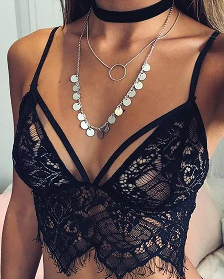 Women Sexy Lace Hollow Out Crop Bra Tops