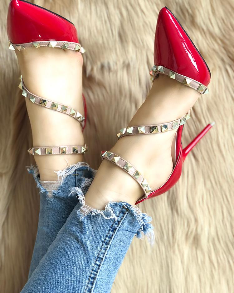 chicme / Rivet Embellished Cut Out Pointed Toe Thin Heels