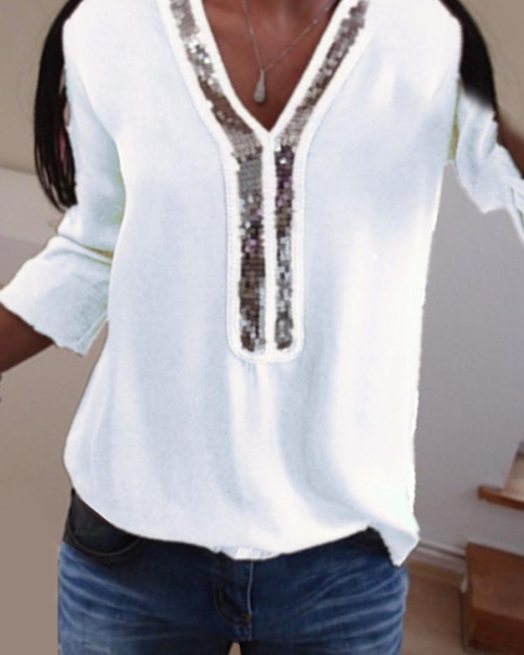 Contrast Sequins Insert Casual T-Shirt фото