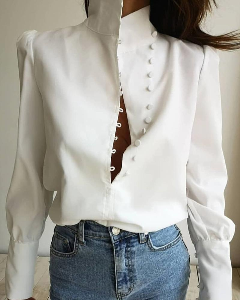 chicme / Fivela Stand Collar Top