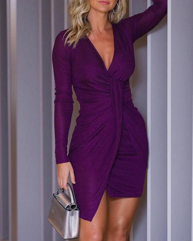 boutiquefeel / Vestido ajustado acanalado de manga larga con cuello en V sólido