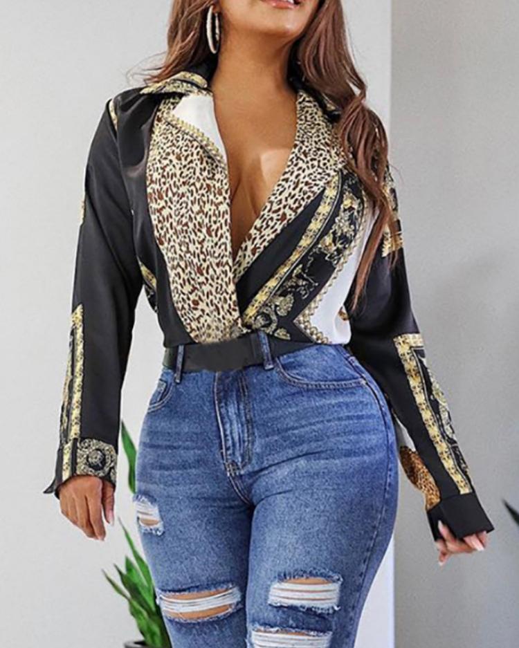 Long Sleeve Vintage Leopard Print Bodysuits