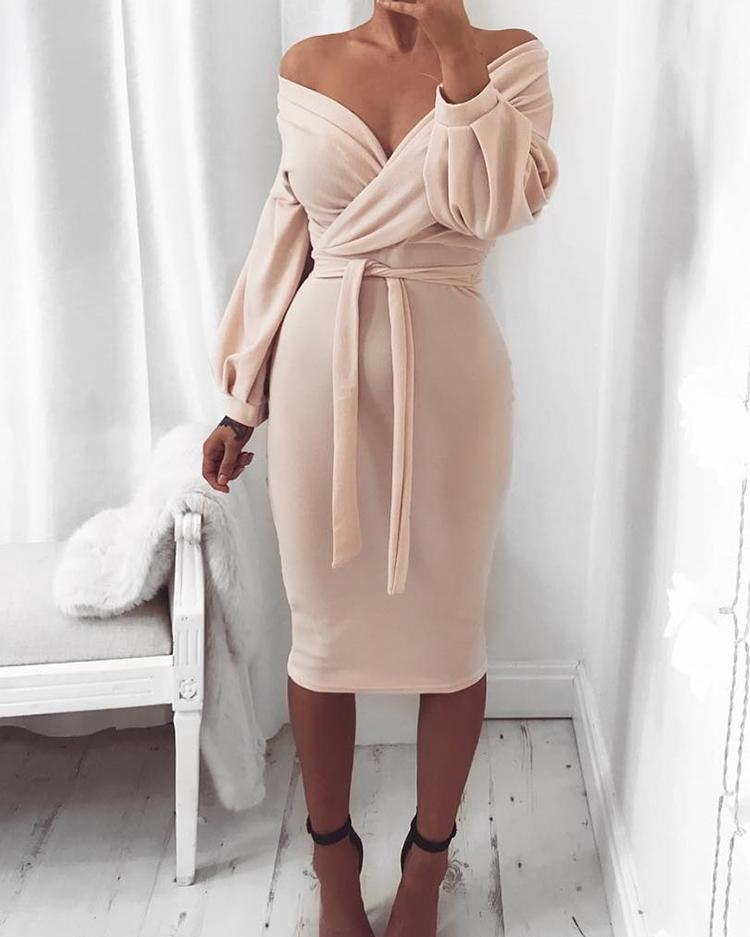 Off Shoulder Twisted Waist Tie Sexy Midi Dress chicme
