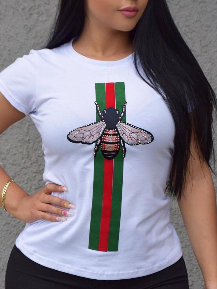 Fashion Striped&Bee Print Casual T-shirt, White;black