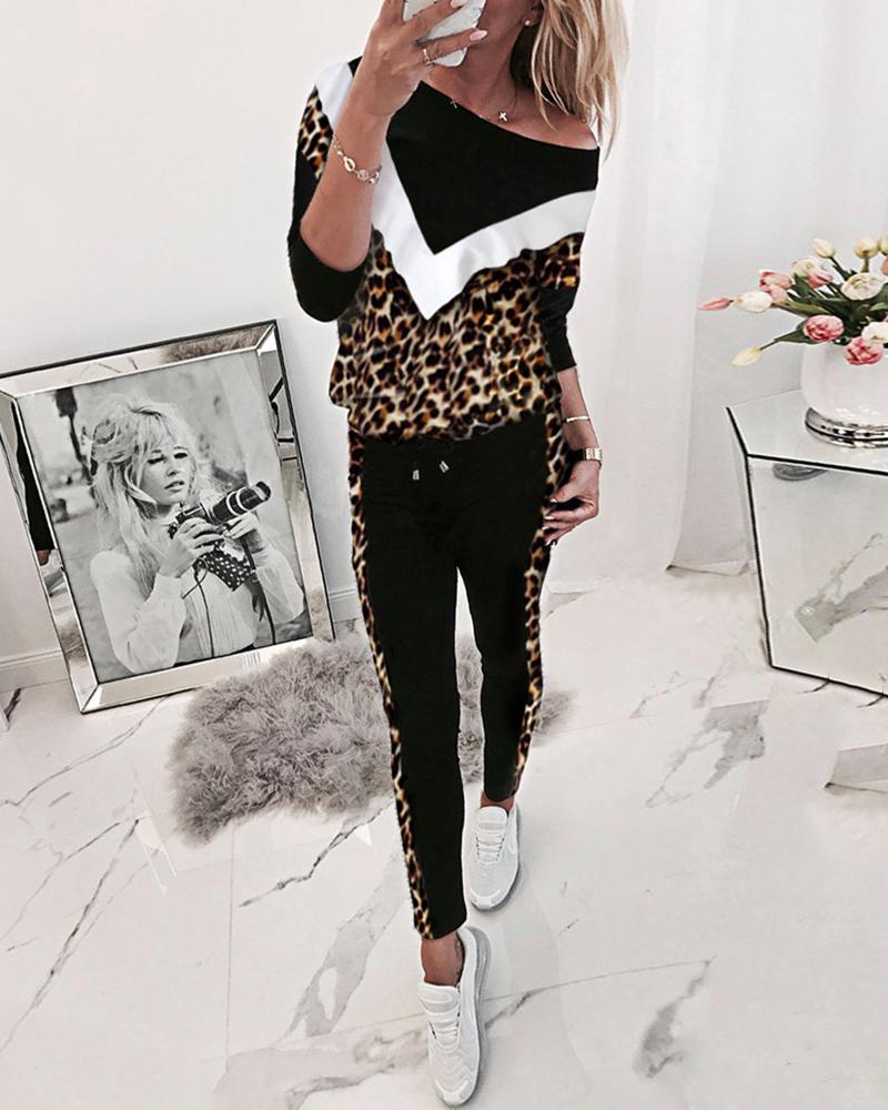 boutiquefeel / Leopardo Colorblock Sweat & Pants Sporty Set