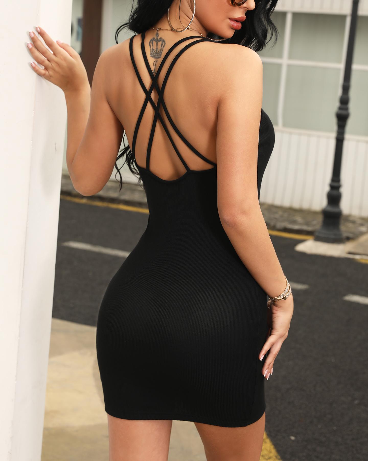 Crisscross Open Back Bodycon Dress фото