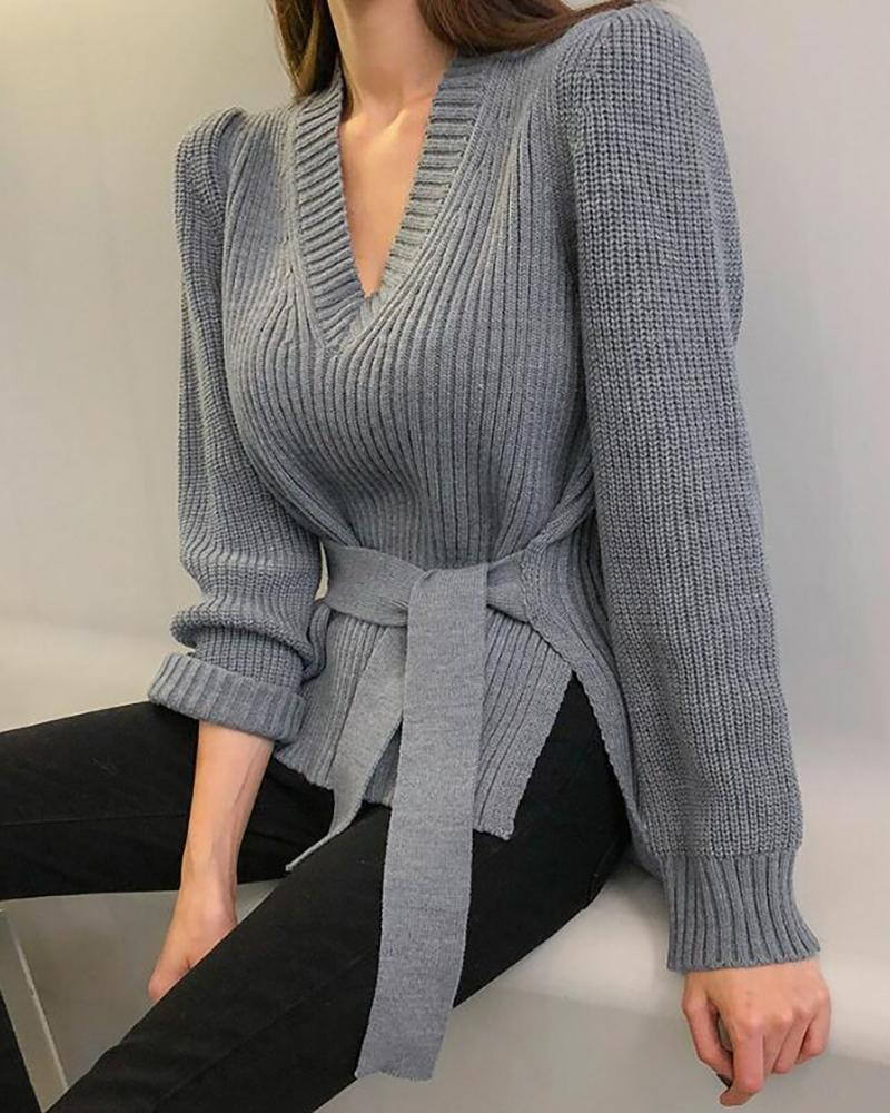 Solid Long Sleeve Slit Knit Sweater фото