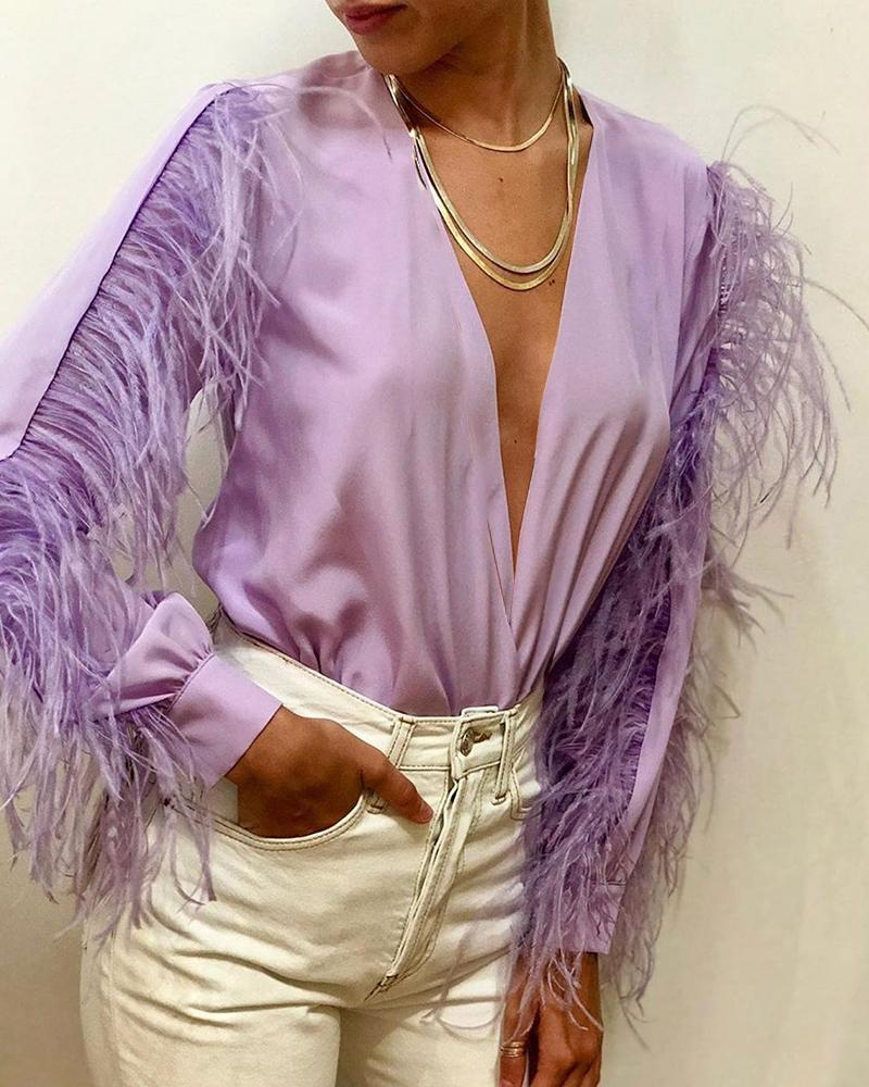 boutiquefeel / Sólido Plunge Feather Insert Blusa de manga comprida