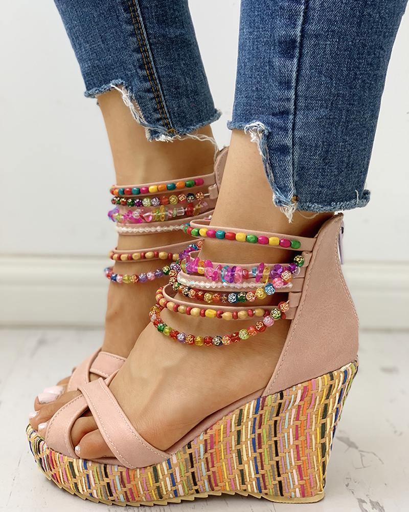 Colorful Beaded Platform Wedge Sandals