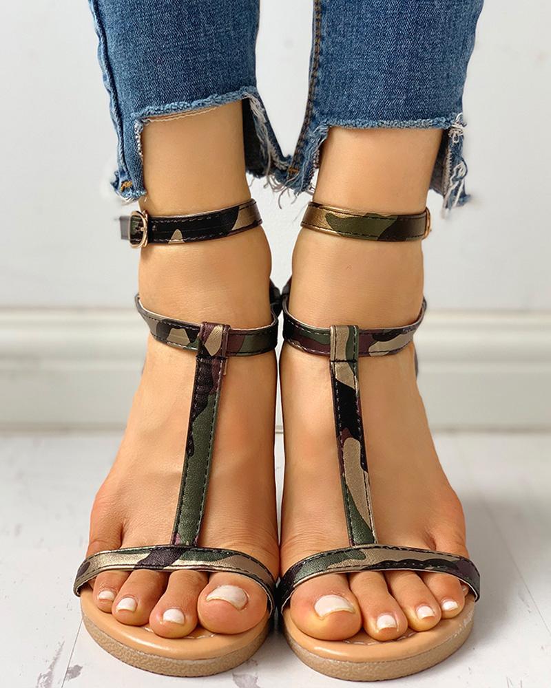 Open Toe T-Strap Flat Sandals