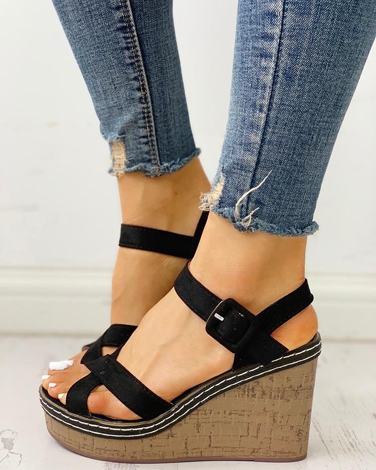 Suede Crisscross Design Wedge Sandals