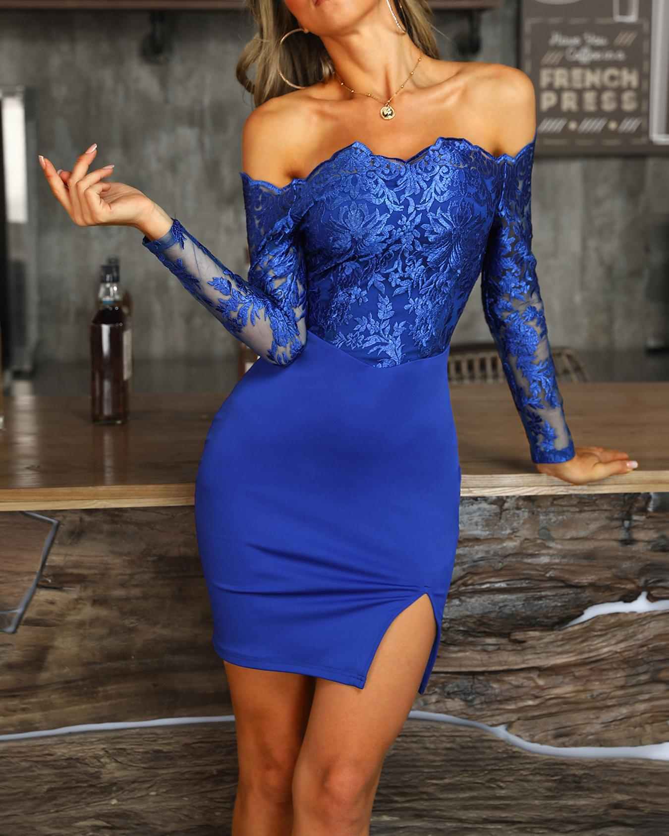 Off Shoulder Lace Bodice Bodycon Dress фото