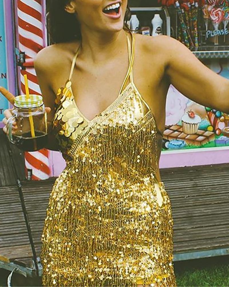 chicme / Halter pescoço lantejoulas borla vestido de festa