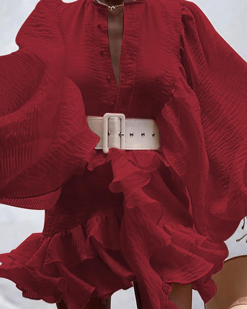 boutiquefeel / Vestido con diseño de botones y volantes con mangas de linterna