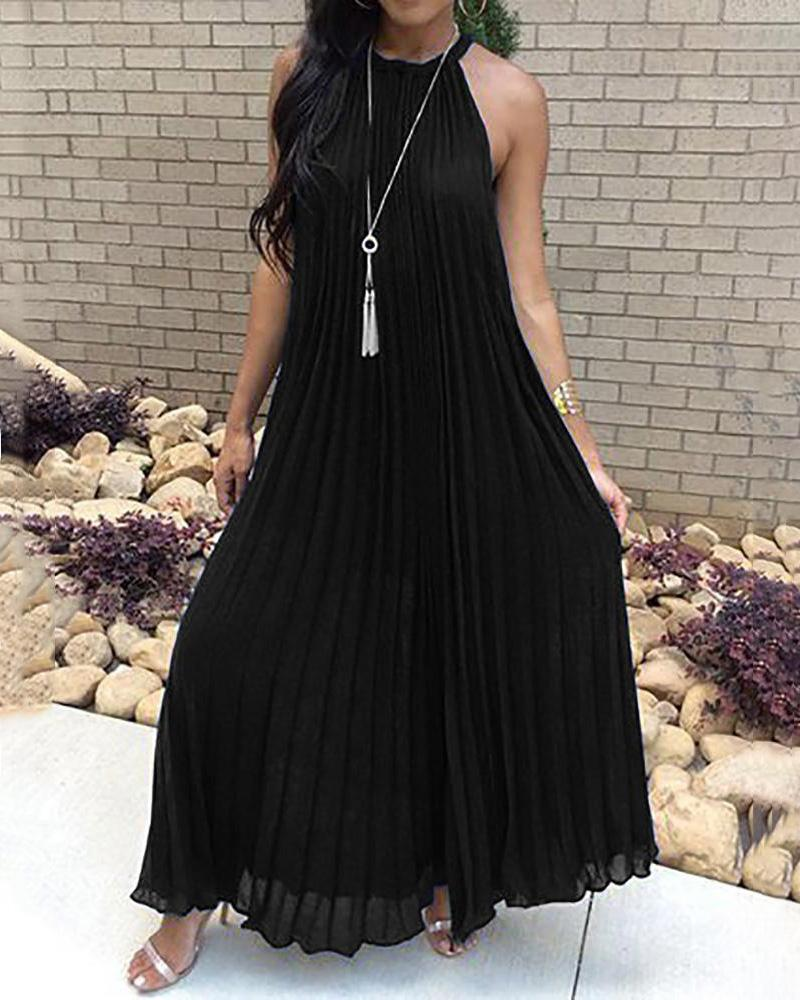 Hot Summer Halter Pleated Casual Maxi Dress фото