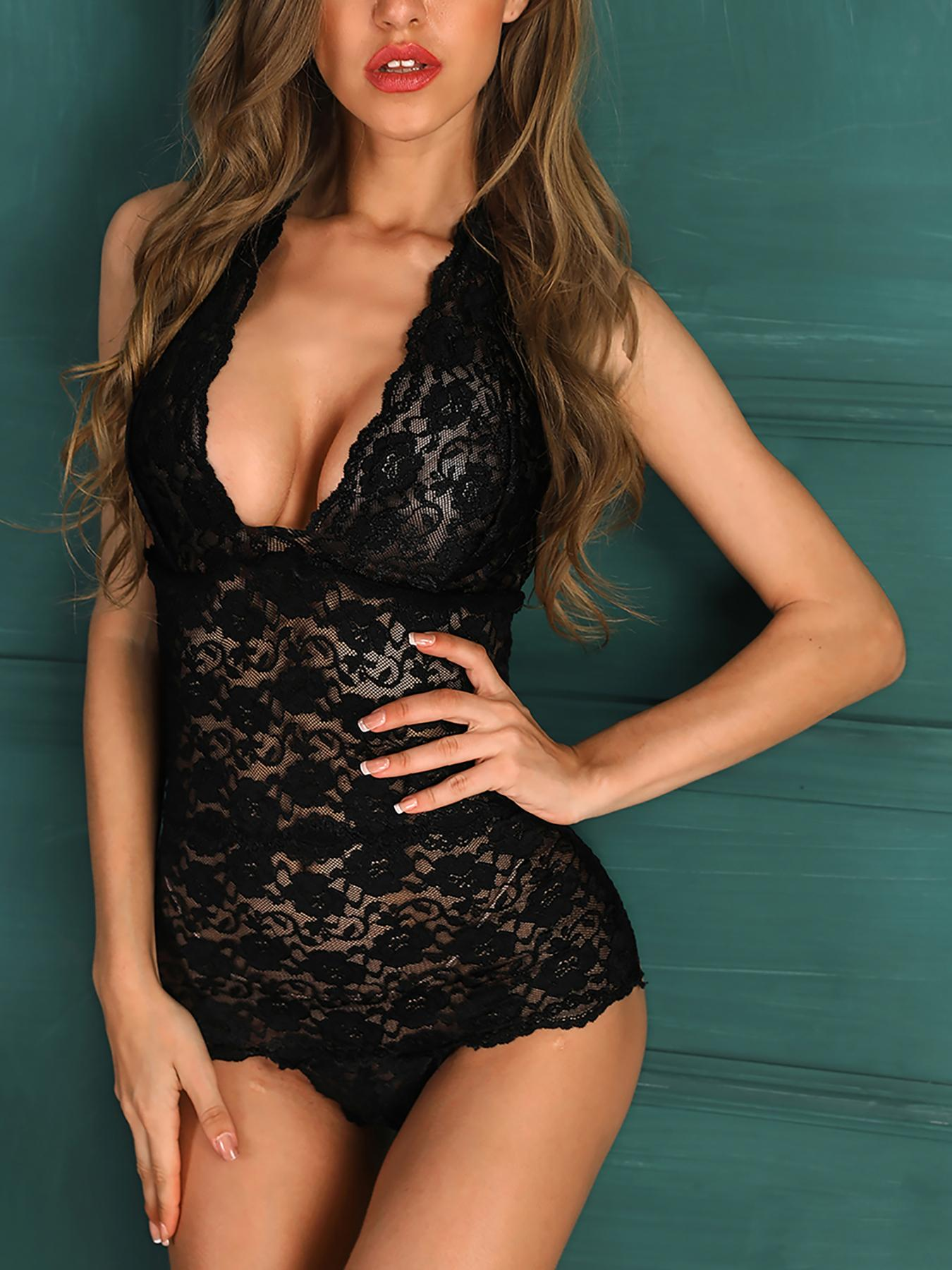 Open Back Lace Sheer Teddy Bodysuit
