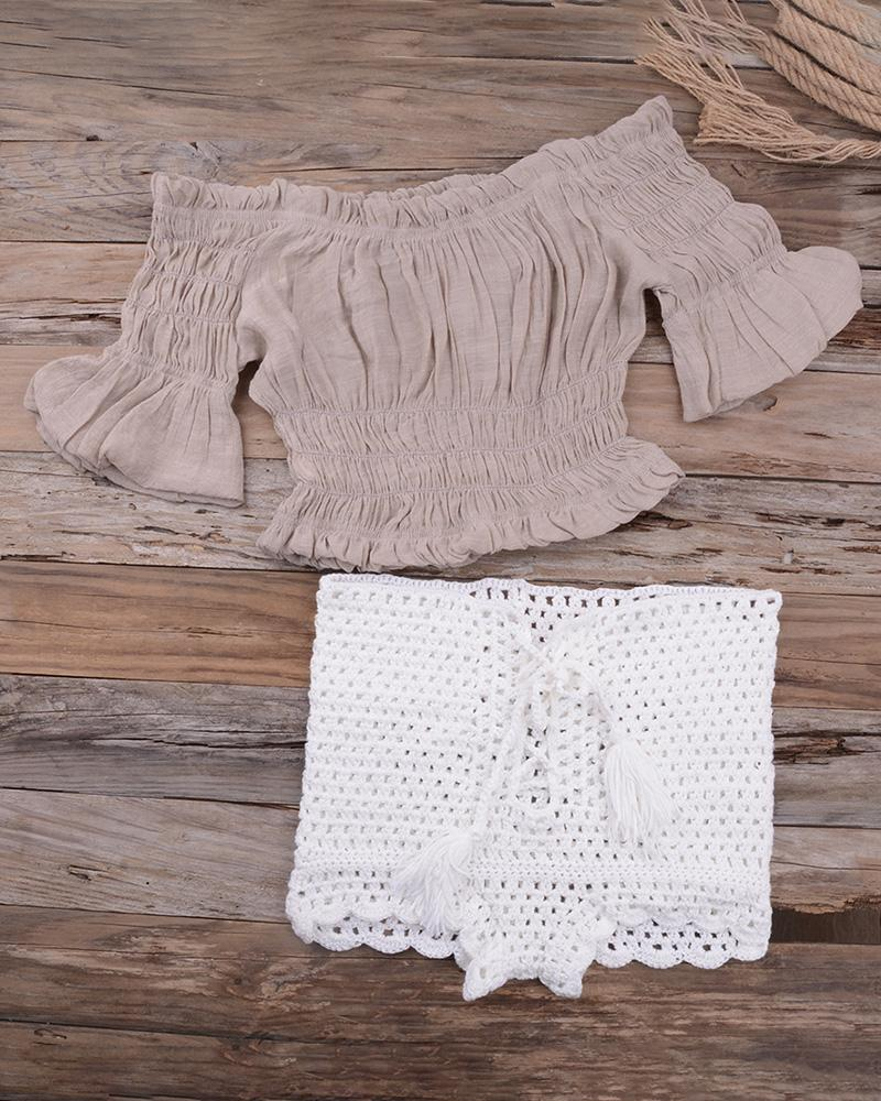 Off Shoulder Hollow Out Crochet Tankini Set фото