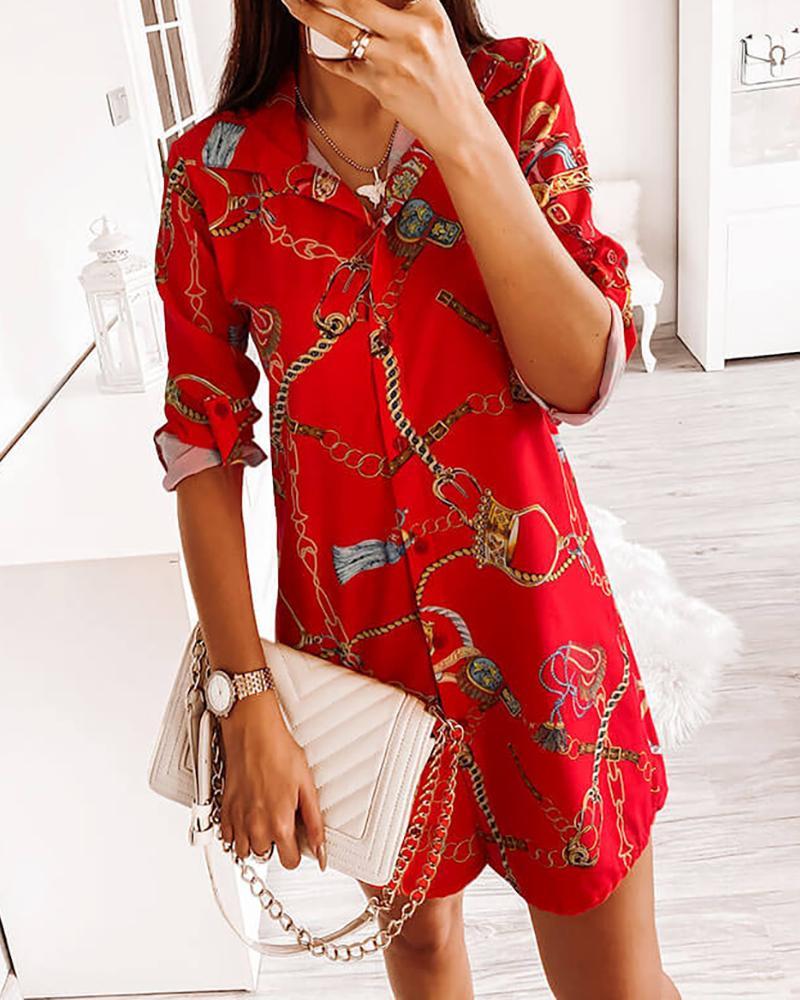 Chain Print Button Design Shirt Dress фото