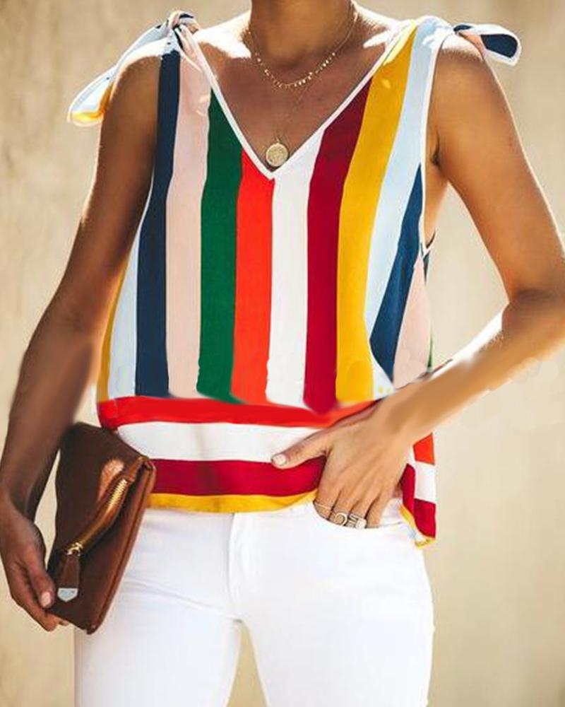V-Neck Strap With Vertical Stripes Rainbow Vest
