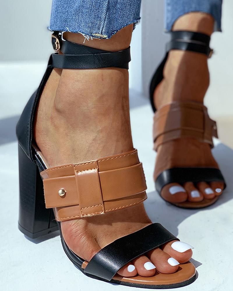 Rivet Ankle Strap Buckled Chunky Heels