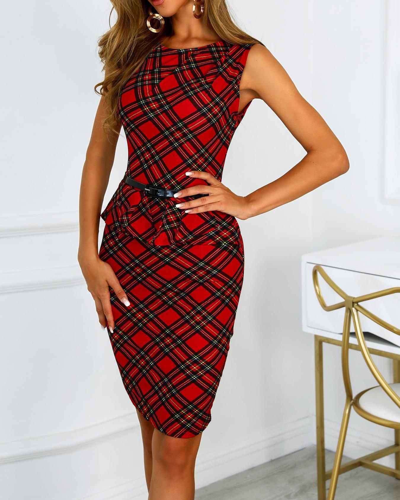 Grid Sleeveless Ruffles Design Work Dress фото