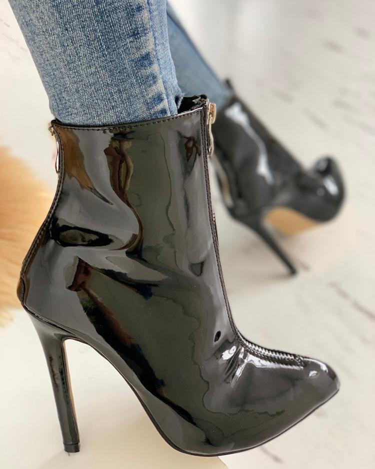 Patent Pointed Toe PU Thin Heeled Boots