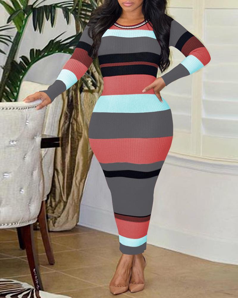 Ribbed Colorblock Long Sleeve Casual Dress фото
