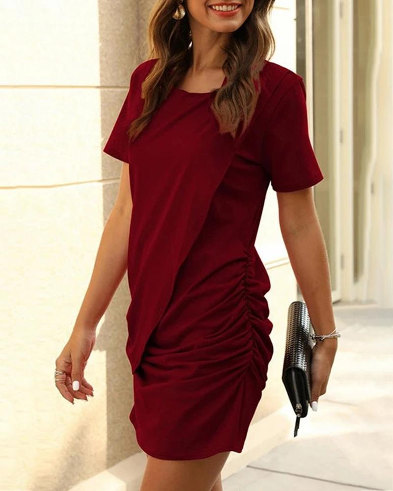 Solid Short Sleeve Ruched Dress фото