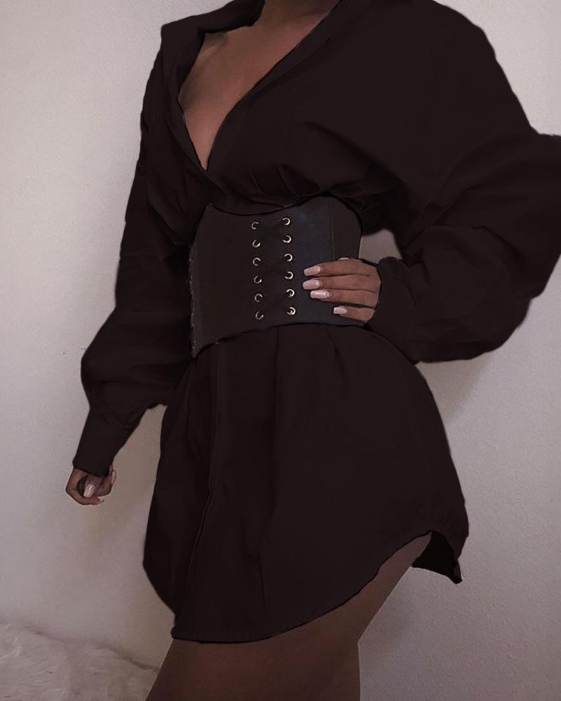 Long Sleeve Casaul Shirt Dress фото
