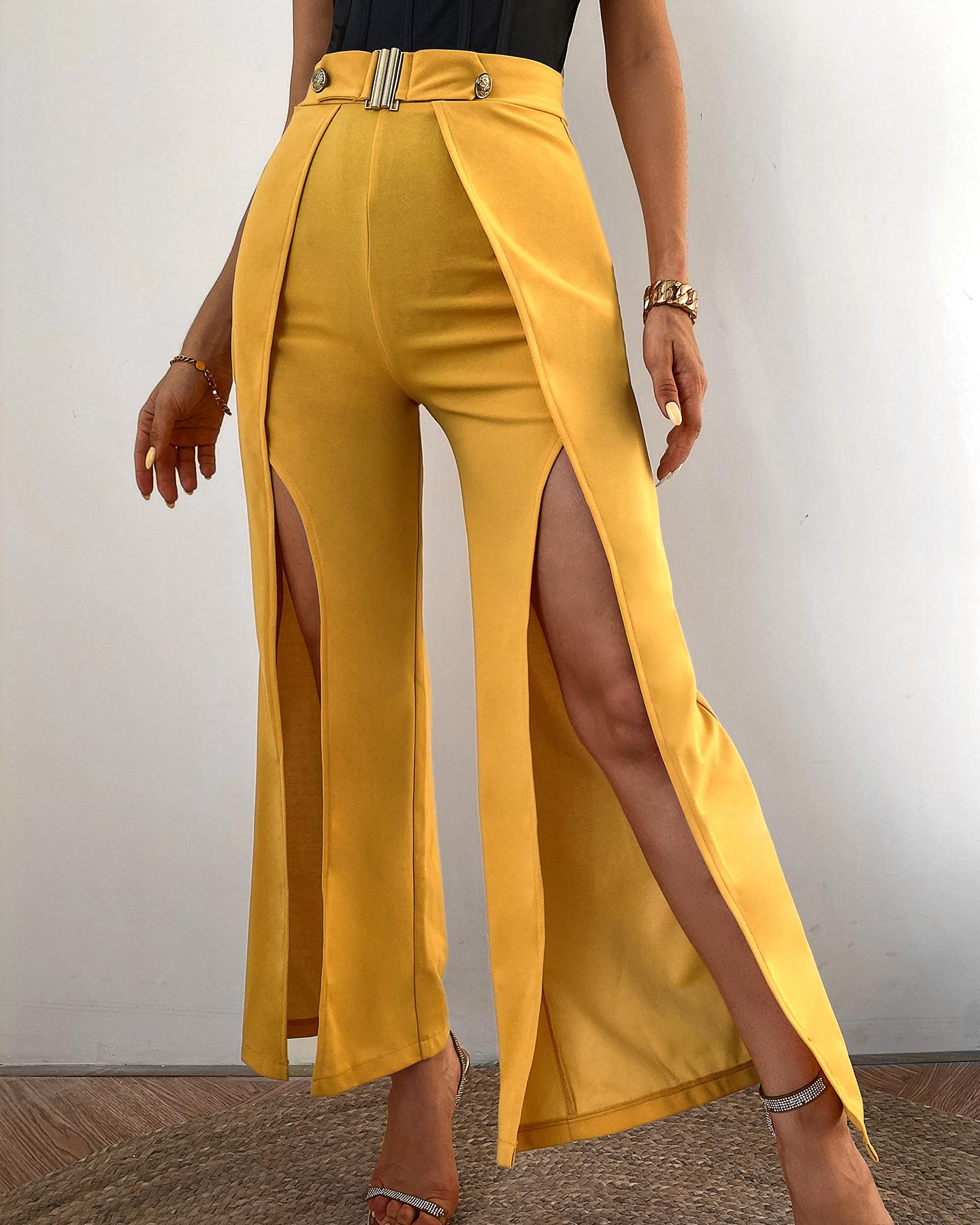 Solid High Waist Slit Leg Pants фото