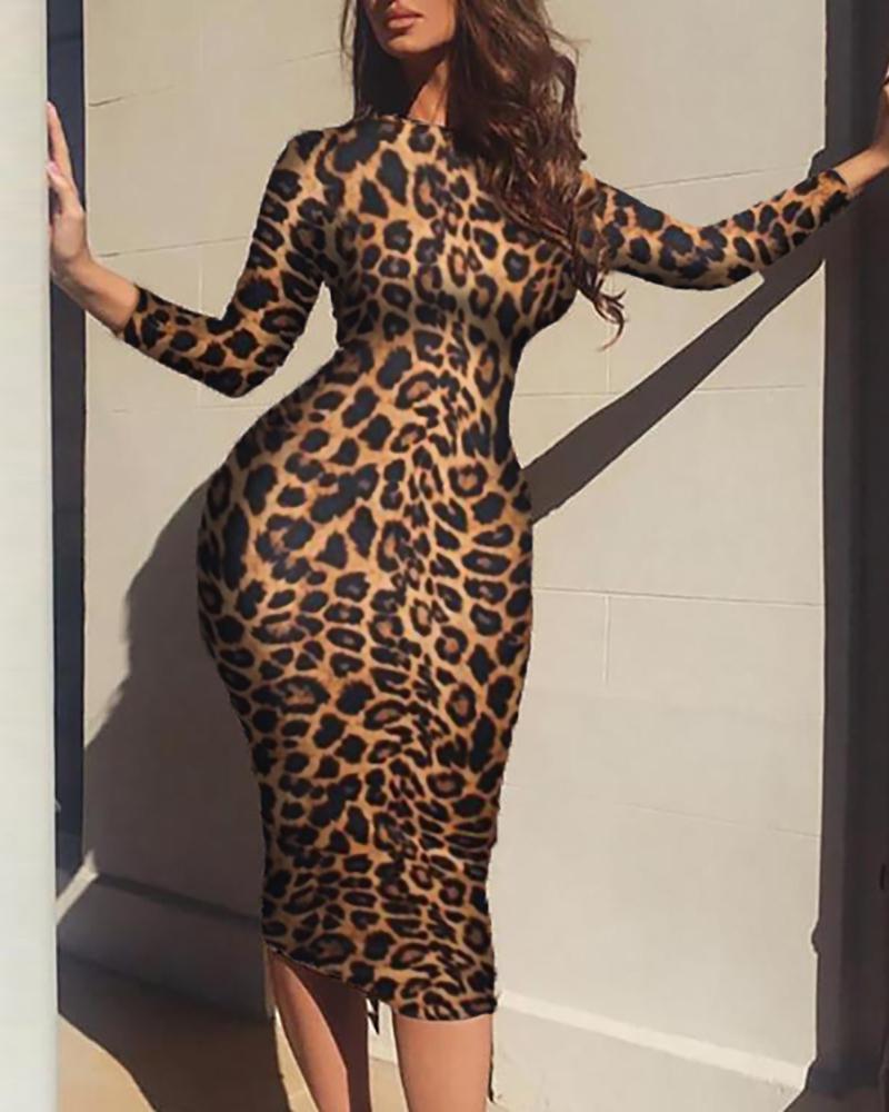 boutiquefeel / Vestido de manga comprida com estampa de leopardo e Bodycon