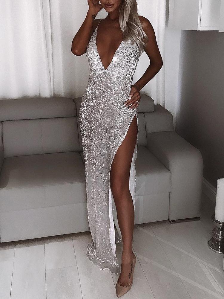 joyshoetique / Shiny Spaghetti Strap Plunge Slit Evening Dress