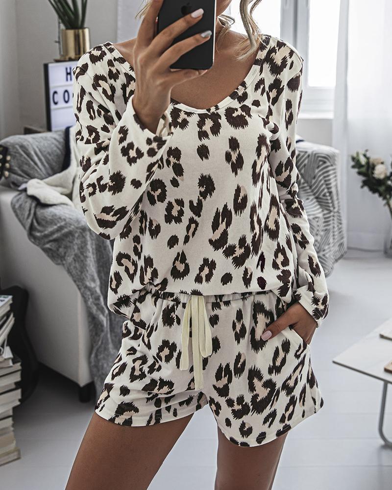 Leopard Print Long Sleeve Pajamas Set фото