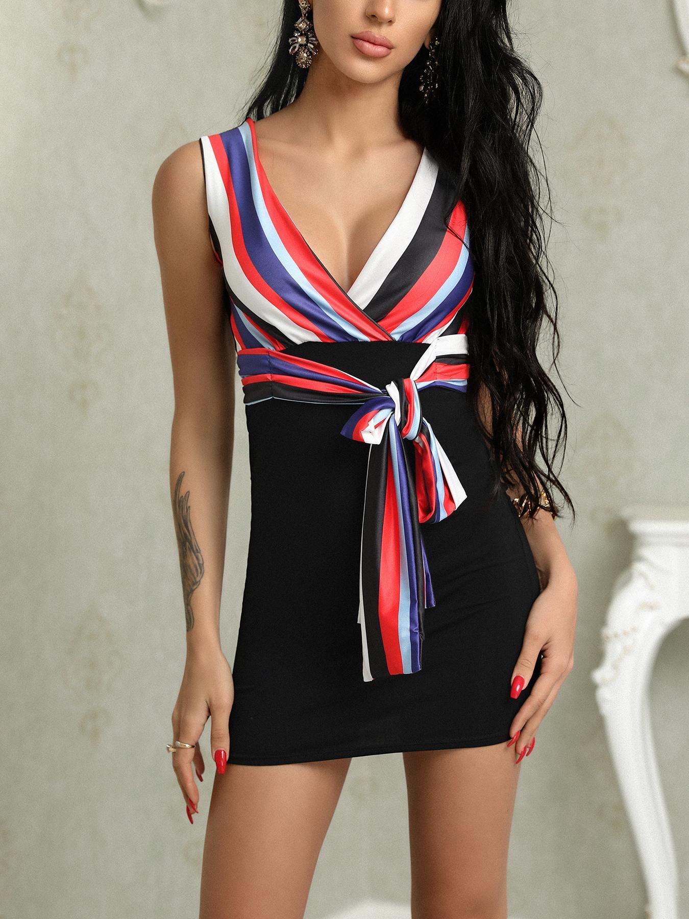 ivrose / Listras Coloridas Envolto Mini vestido com cinto