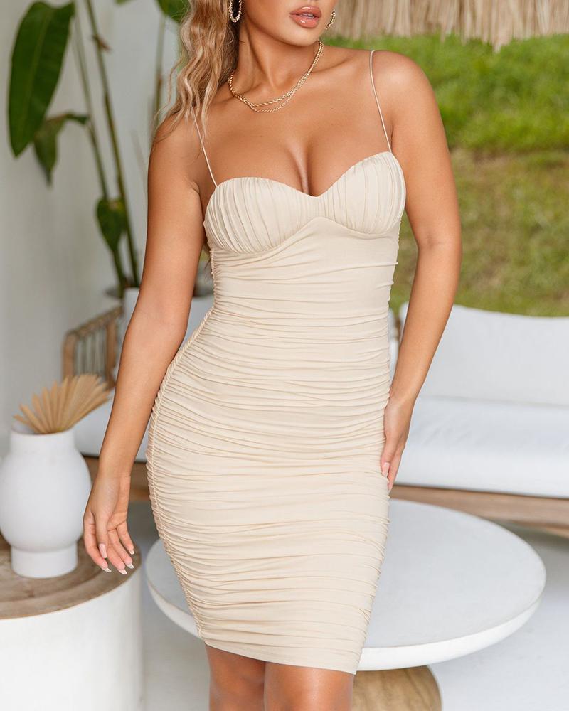 boutiquefeel / Vestido de festa acolchoado com cinta de espaguete ruched