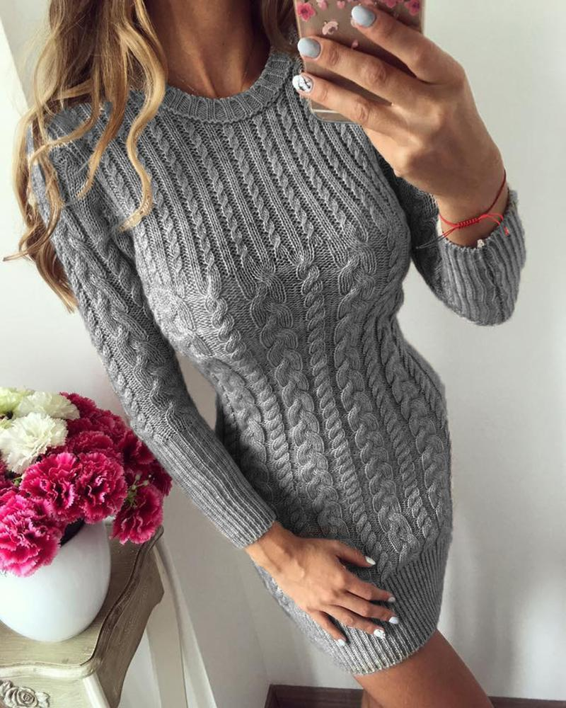 Solid Long Sleeve Casual Sweater Dress фото