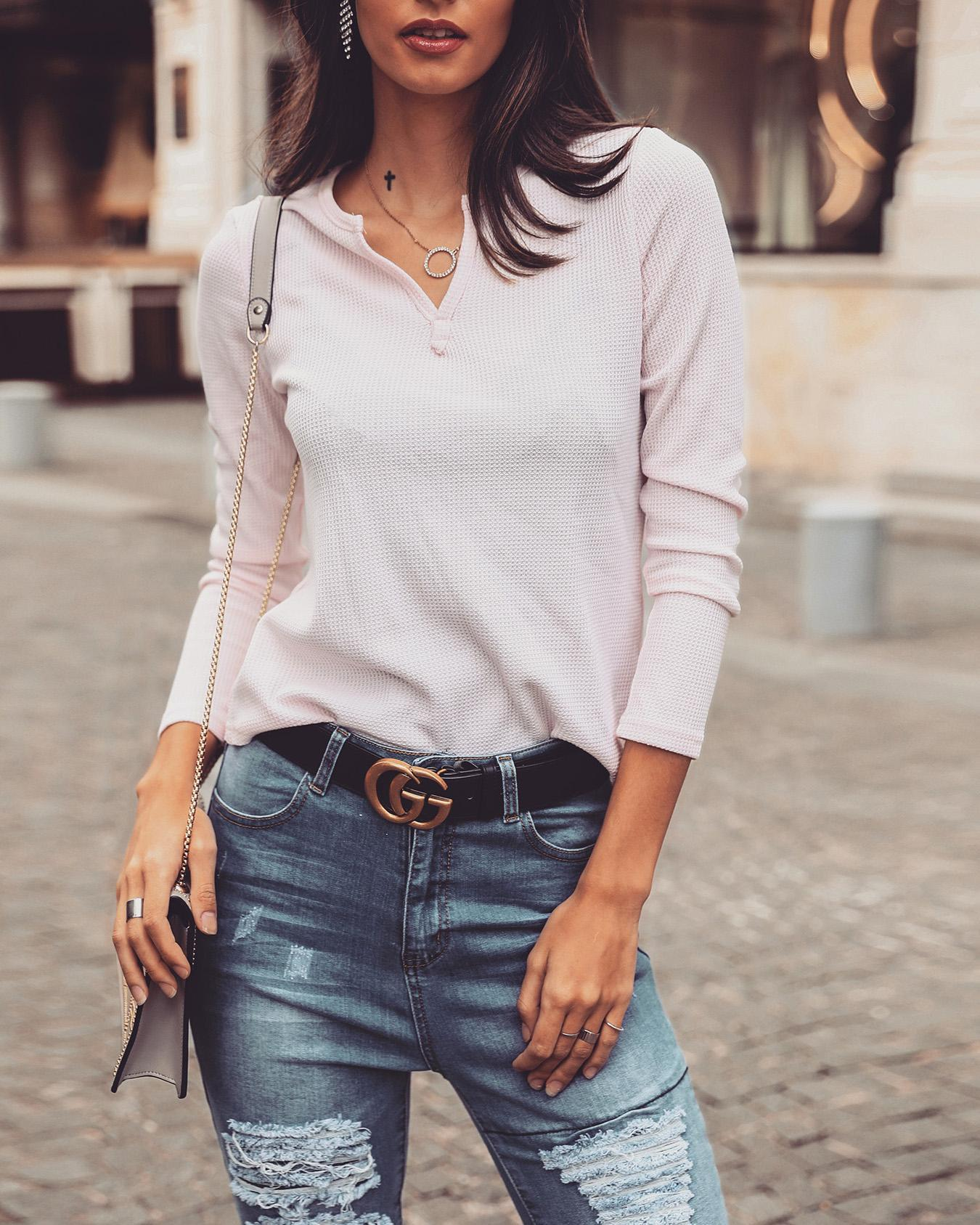 Solid V-Neck Long Sleeve Casual Top