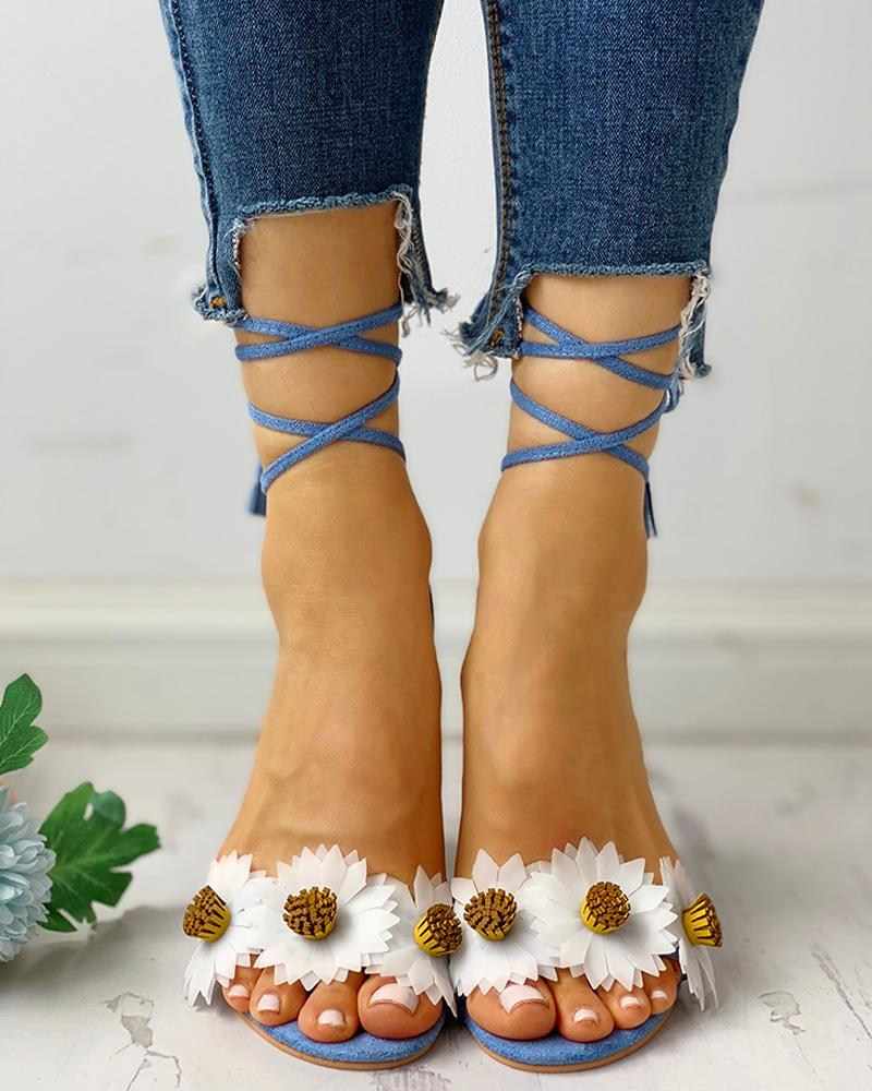 Flower Lace-Up Chunky Heeled Sandals