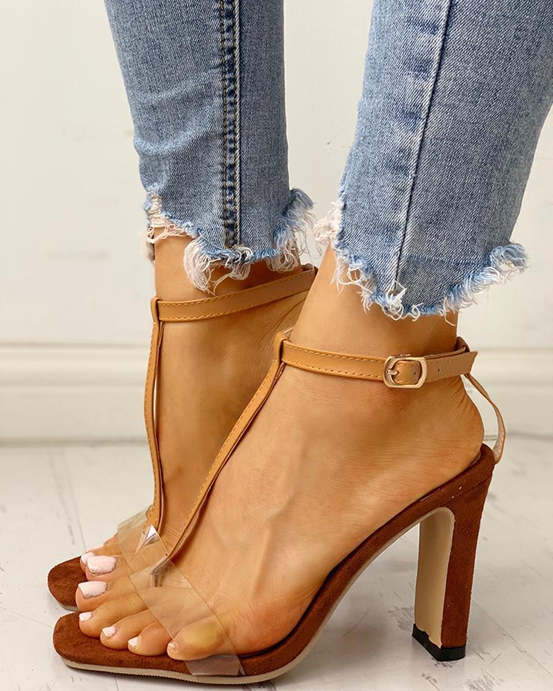 Open Toe Transparent Strap Chunky Heeled Sandals, joyshoetique, khaki  - buy with discount