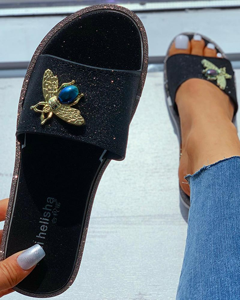 Animal Pattern Glitter Flat Sandals фото
