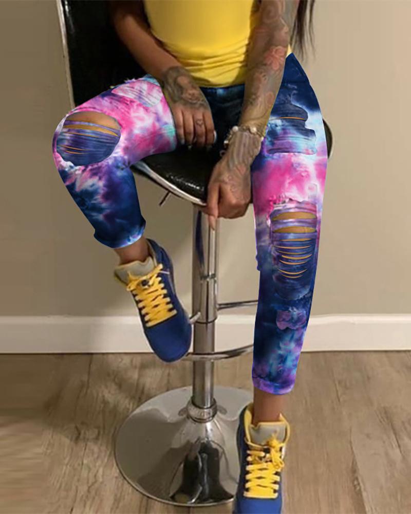 Tie Dye Print Distressed Cutout Denim Pants фото