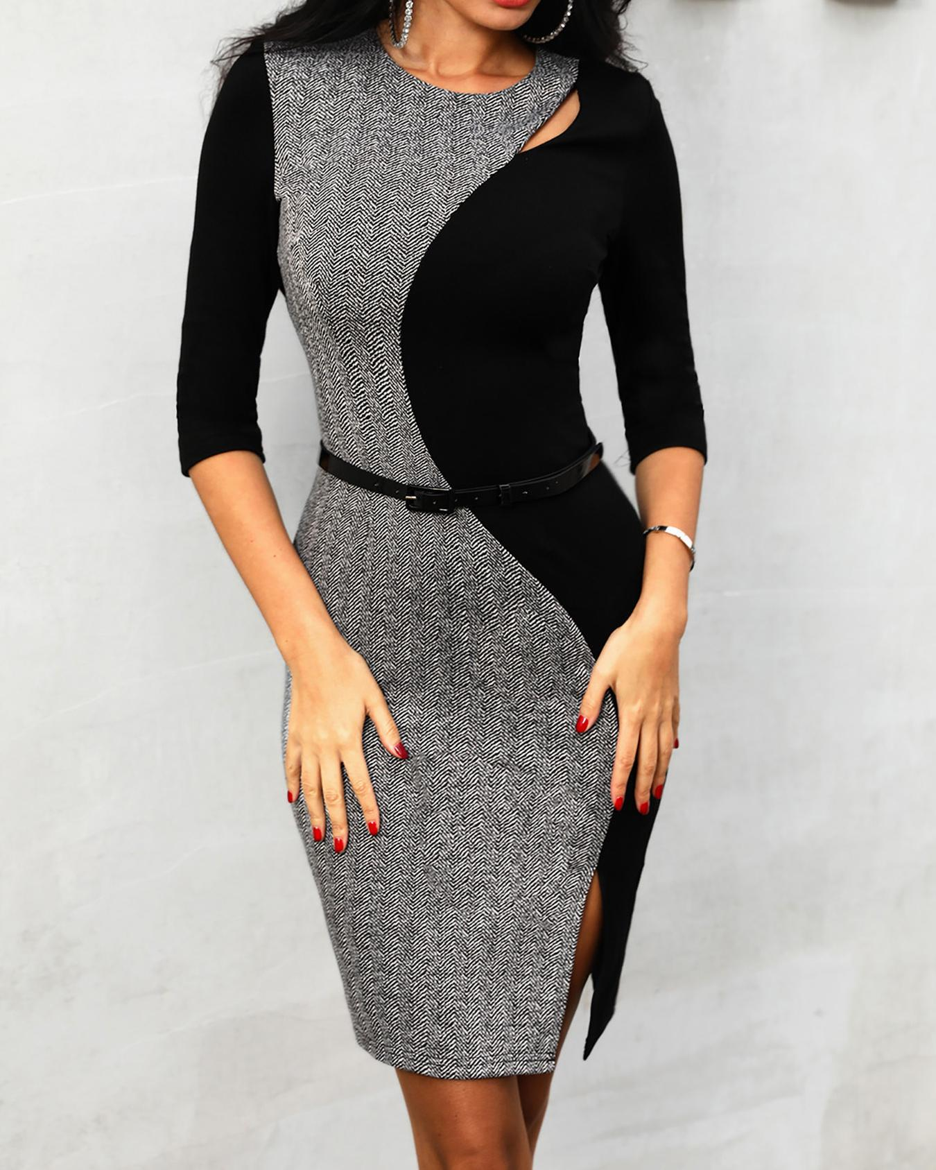 Contrast Color Insert Slit Bodycon Dress