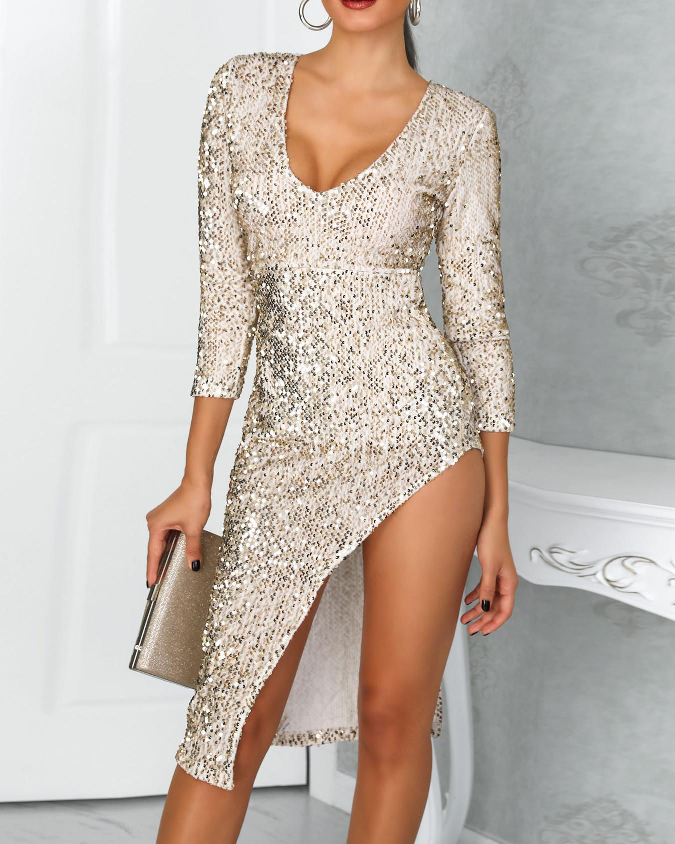 Deep V Long Sleeve Split Sequin Dress