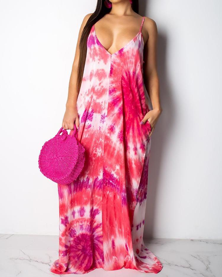 Tie Dye Print Pocket Design Maxi Dress