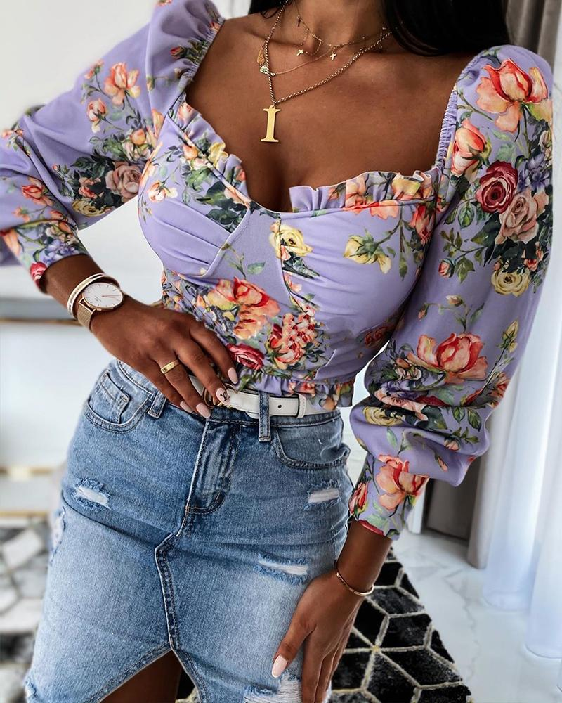 chicme / Floral Print Square Neck Top