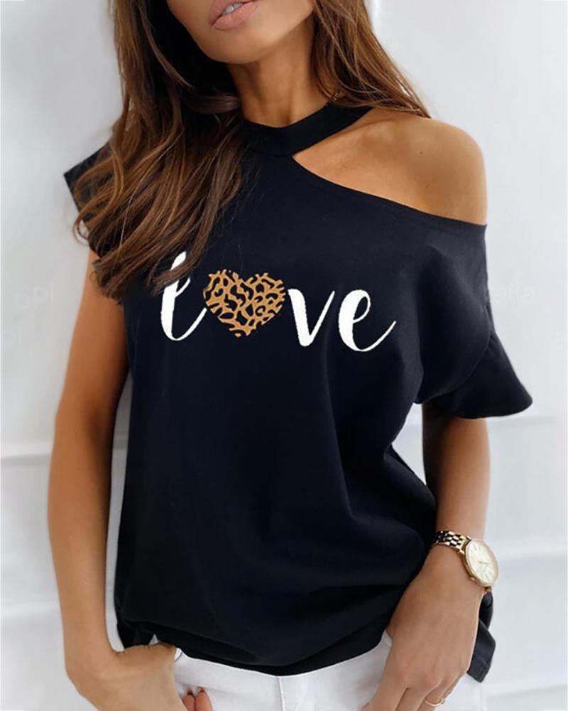 Cold Shoulder Leopard Letter Print T-shirt фото
