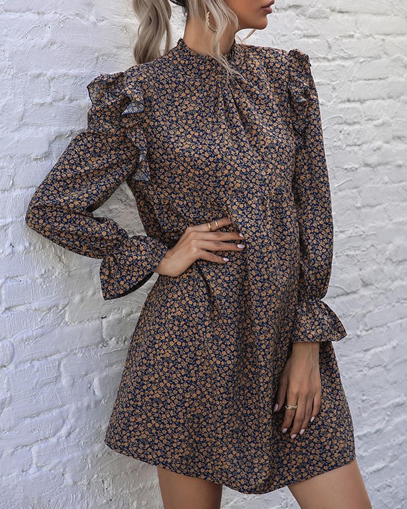 ivrose / Floral Print Flared Sleeve Ruffle Hem Mini Dress