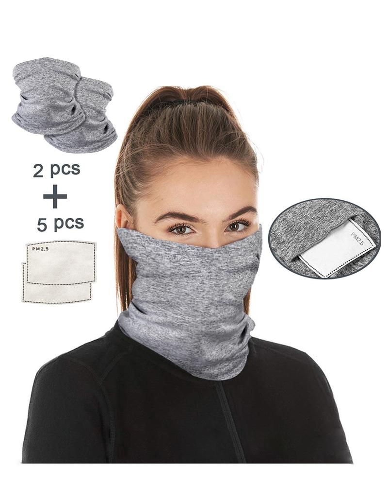 Breathable Face Bandana Magic Scarf Headwrap Balaclava With 5PCS Replaceable Filter, Gray